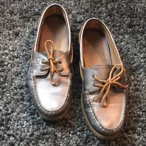 Sperry Topsider Silver Slip-On Shoes